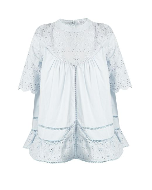 Zimmermann | Blue Caravan Embroidered Cotton And Silk-blend Top | Lyst