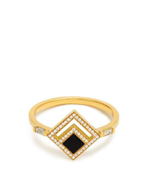 Azlee | Metallic Eclipse Diamond, Enamel & Yellow-gold Ring | Lyst