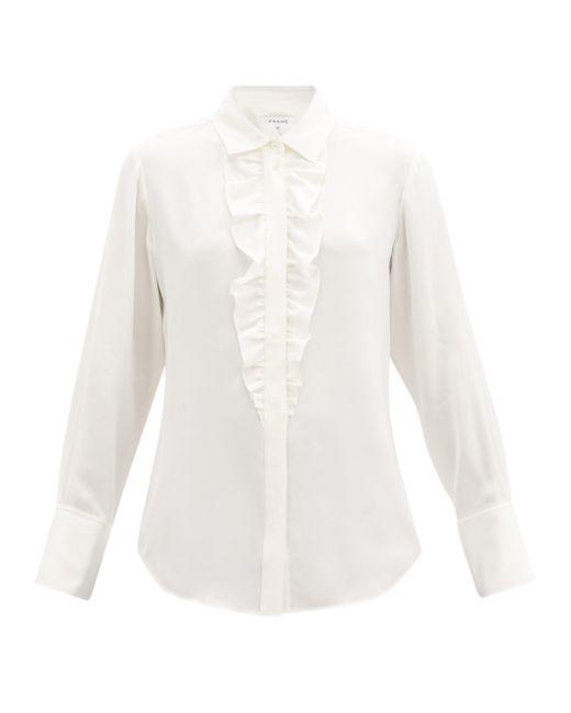 FRAME ラッフル シルククレープシャツ White
