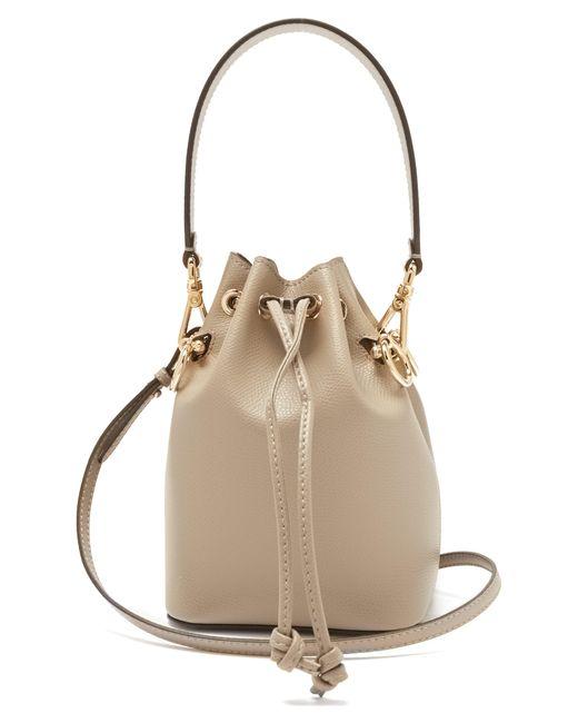 b705c4f604 Fendi - Gray Mon Tresor Mini Leather Bucket Bag - Lyst ...