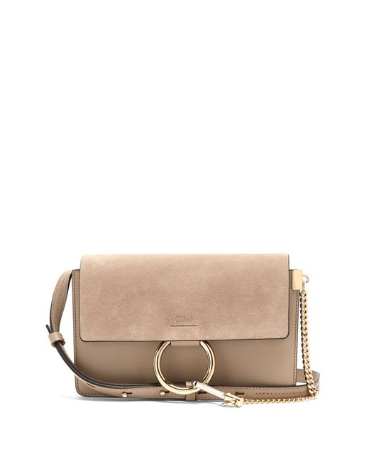 Chloé   Gray Faye Small Suede And Leather Cross-body Bag   Lyst