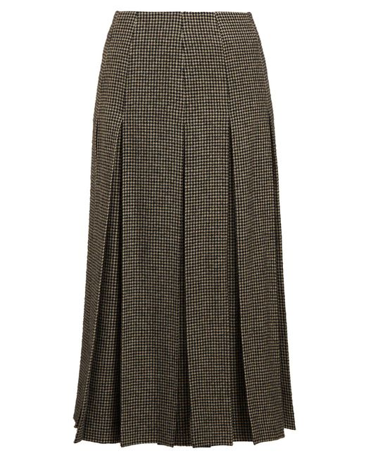 The Row - Black Odell Houndstooth Wool-blend Skirt - Lyst