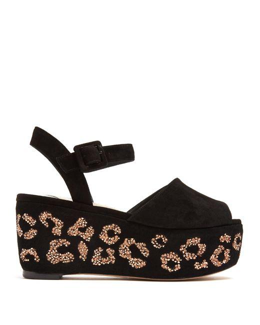 Sophia Webster   Multicolor Suki Crystal-embellished Suede Flatform Sandals   Lyst