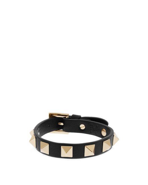 Valentino   Black Rockstud Leather Bracelet   Lyst