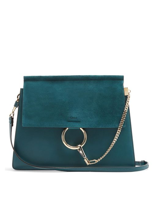 Chloé | Green Faye Medium Suede And Leather Shoulder Bag | Lyst