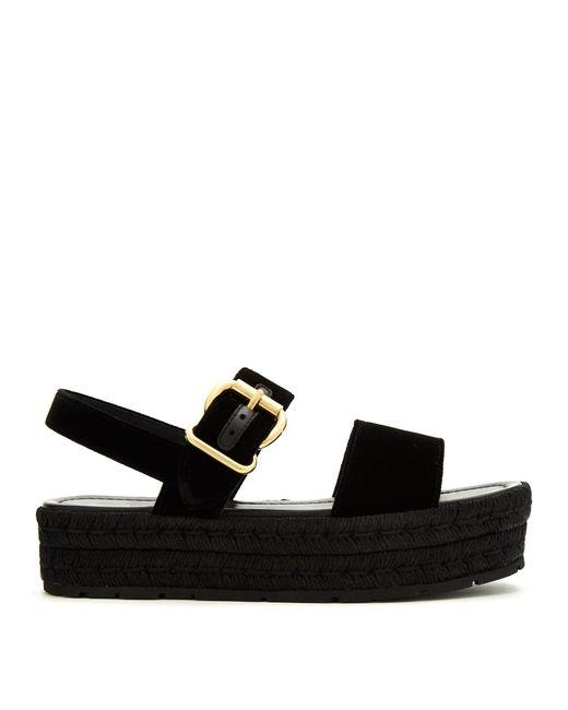Prada   Black Double-strap Velvet Flatform Sandals   Lyst