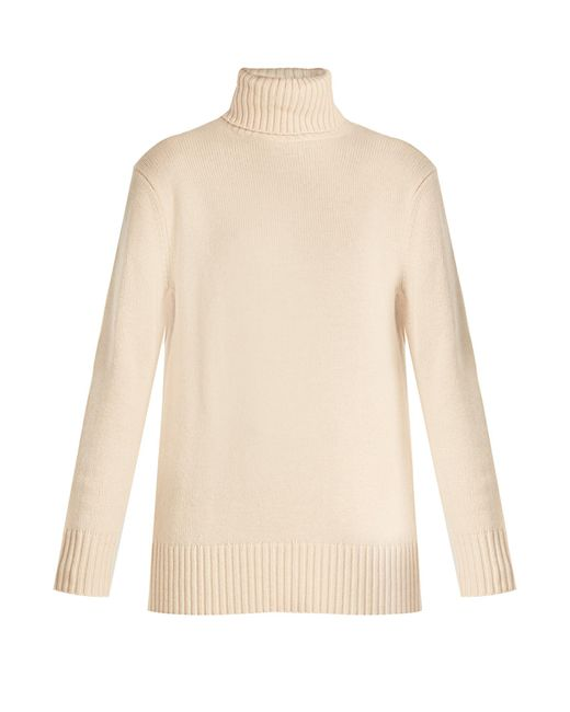 Chloé   Natural Iconic Roll-neck Cashmere Sweater   Lyst