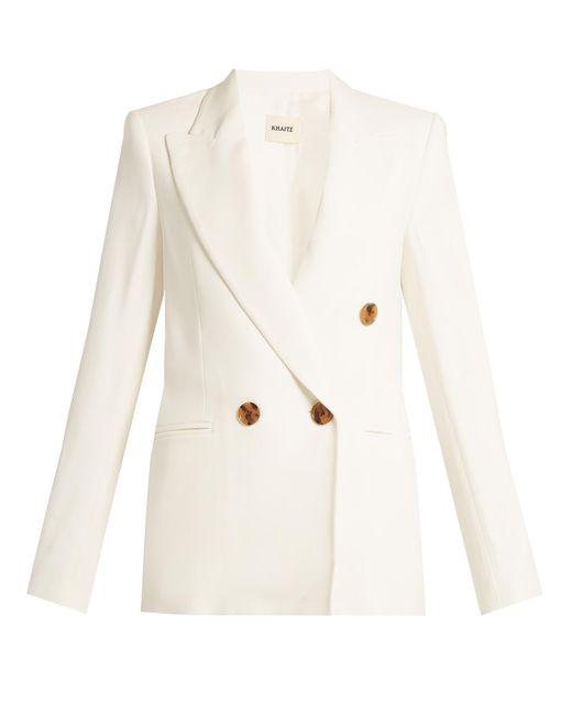 Khaite | White Isa Peak-lapel Stretch-piqué Jacket | Lyst
