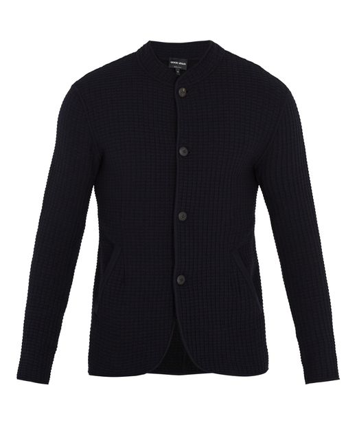Giorgio Armani | Blue Mandarin-collar Waffle-knit Cardigan for Men | Lyst