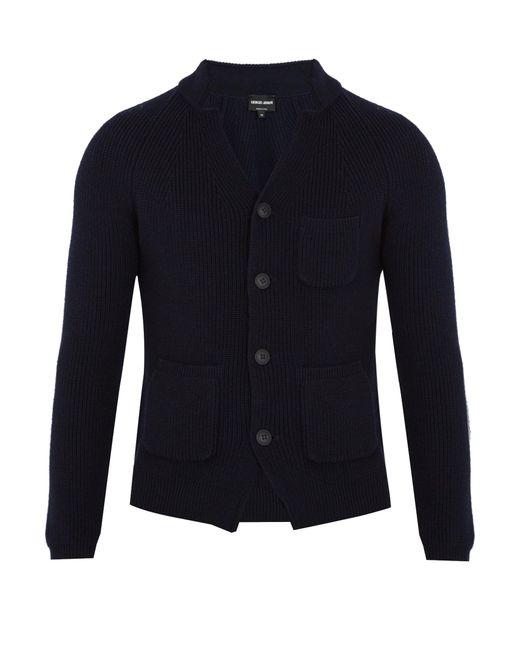 Giorgio Armani | Blue Notch-lapel Wool Cardigan for Men | Lyst