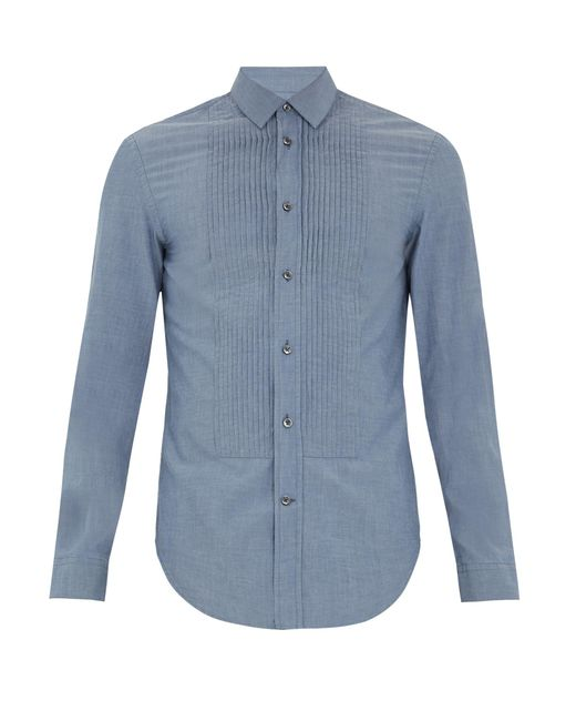 Maison Margiela | Blue Pleated-bib Cotton Shirt for Men | Lyst