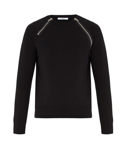 Givenchy | Black Front-zip Cotton-blend Sweatshirt for Men | Lyst