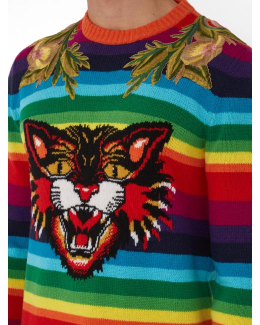 Lyst Gucci Angry Cat Rainbow Sweater For Men