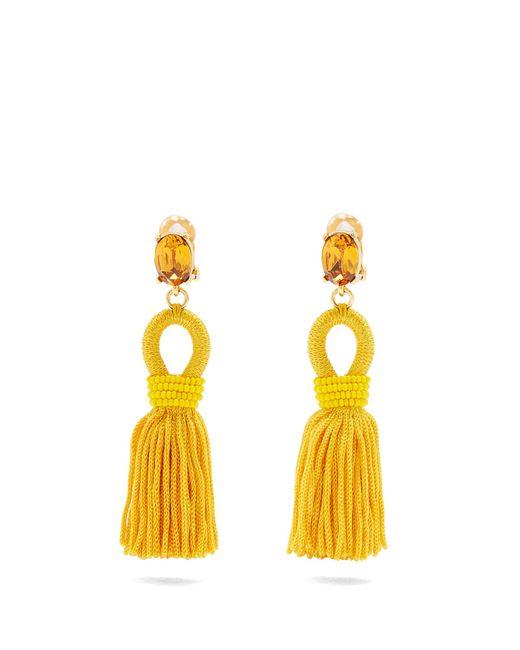 Oscar de la Renta | Yellow Short Tassel-drop Clip-on Earrings | Lyst