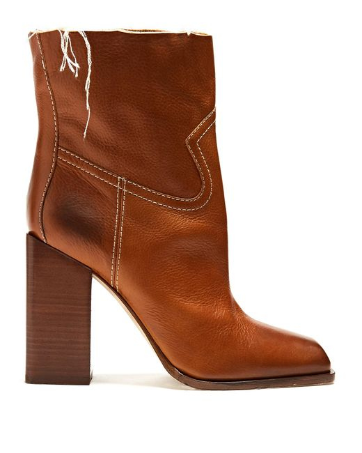 Saint Laurent   Brown Jodie Square-toe Leather Ankle Boots   Lyst