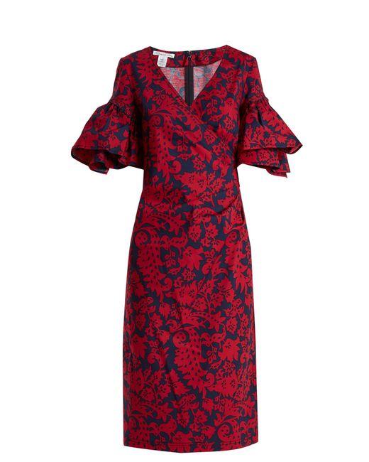 Oscar de la Renta   Red Decorative Floral-print Cotton-blend Poplin Dress   Lyst