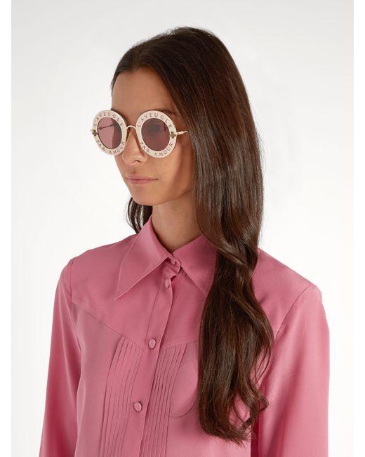 Gucci L Aveugle Par Amour Metal Sunglasses In Pink Lyst