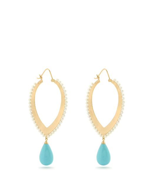 Irene Neuwirth | Blue Turquoise, Pearl & Yellow-gold Earrings | Lyst