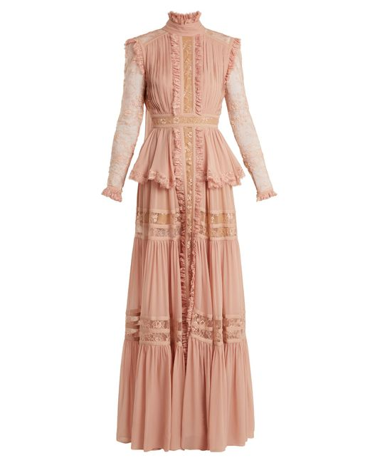 Elie Saab   Pink Frilled Crepe Georgette & Lace Gown   Lyst