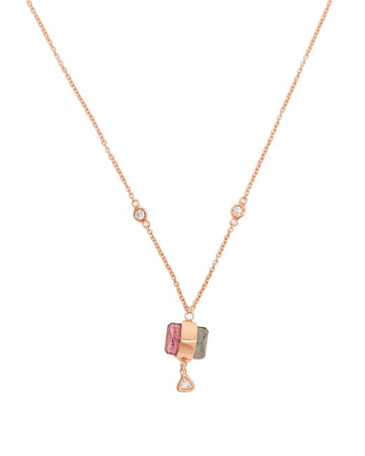 Jacquie Aiche | Pink Diamond, Tourmaline & Rose-gold Necklace | Lyst