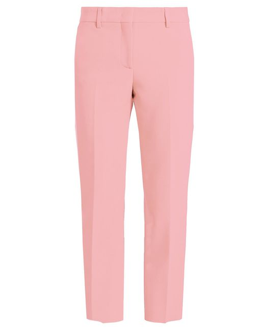 MSGM | Pink Slim-leg Cropped Crepe Trousers | Lyst