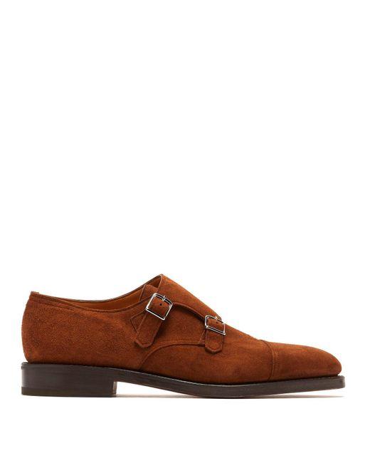 John Lobb - Brown William Monk Strap Suede Shoes for Men - Lyst