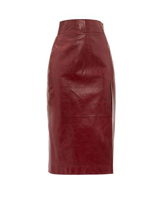 Gucci レザー ペンシルスカート Red