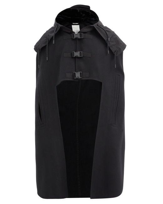 メンズ Valentino Garavani バックル フェルトウールケープ Black
