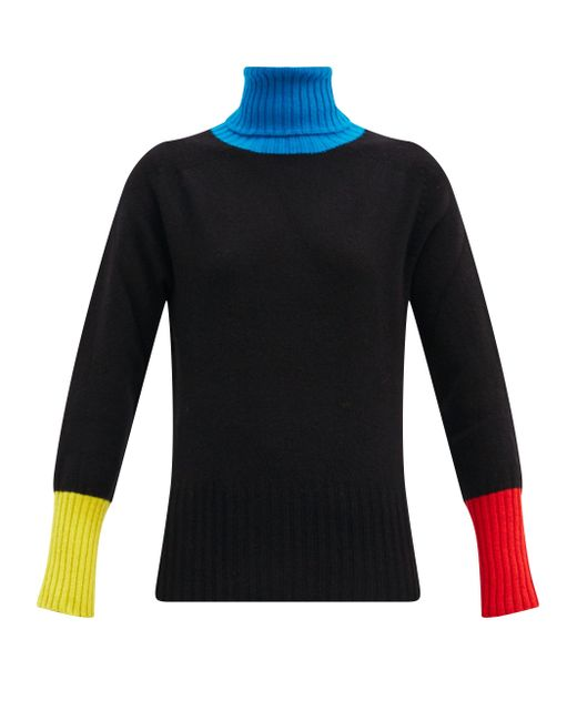 La Fetiche タートルネック カラーブロック ウールセーター Black