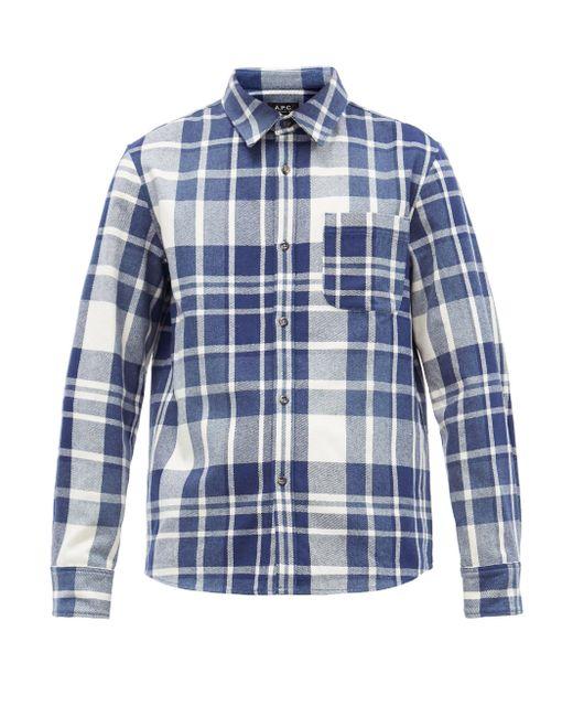 メンズ A.P.C. トレック チェック ウールブレンドオーバーシャツ Blue