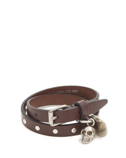 Alexander McQueen   Brown Leather Wraparound Leather Bracelet for Men   Lyst