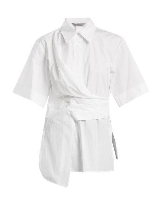 Sportmax - White Fauno Draped Cotton-poplin Shirt - Lyst