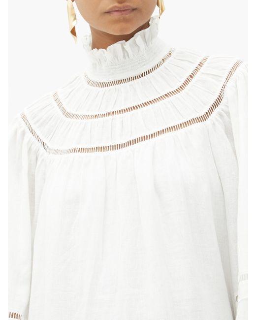 Étoile Isabel Marant バルーンスリーブ リネンミニドレス White