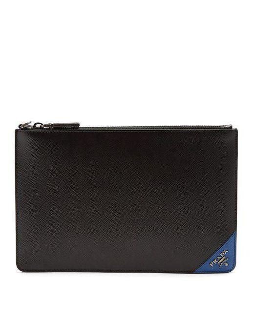 Prada - - Contrast Corner Leather Pouch - Mens - Black Multi for Men - Lyst