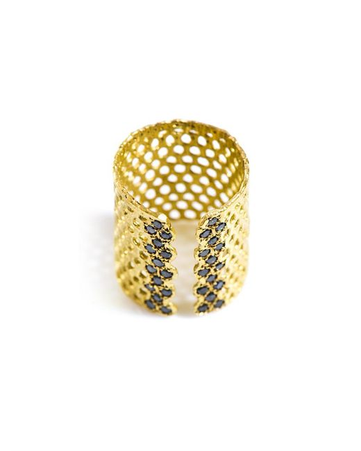 Lara Melchior   Metallic Bague I Black Diamond And Gold-plated Ring   Lyst