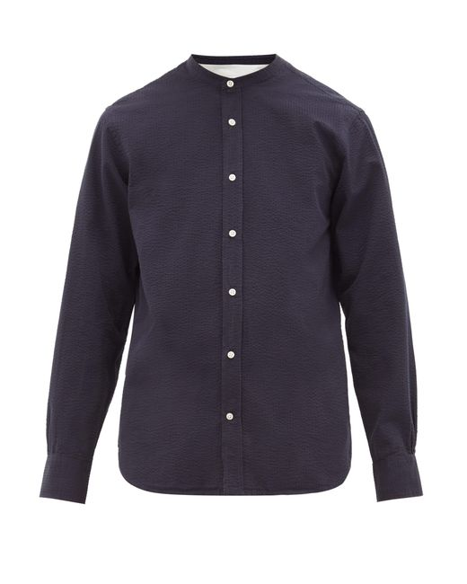 Officine Generale Blue Band-collar Cotton-seersucker Shirt for men