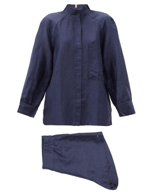 Lunya リゾート リネンブレンドツイル パジャマ Blue