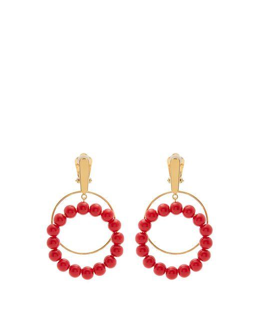 Marni - Red Beaded Square-hoop Earrings - Lyst