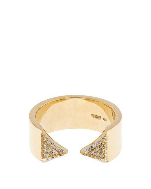Ileana Makri - Metallic White-diamond & Yellow-gold Pyramid Ring - Lyst