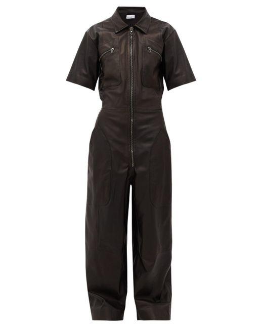 Raey Black Zip-front Leather Jumpsuit