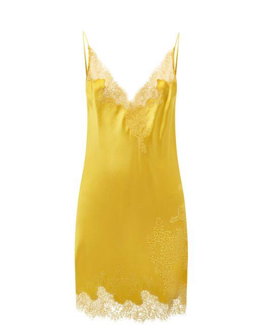 Carine Gilson レーストリム シルクサテン スリップドレス Yellow