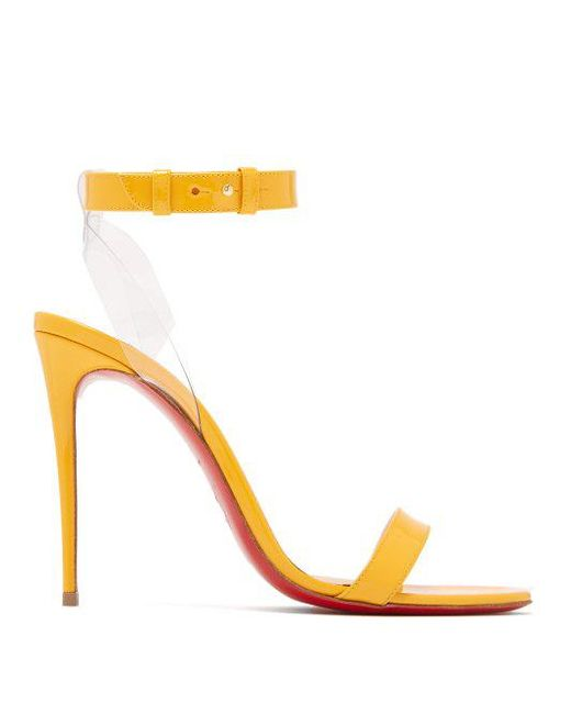 Jonatina 100 Pvc-trimmed Patent-leather Sandals - Yellow Christian Louboutin Classic Cheap Online BCx06NRH