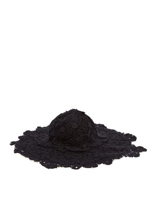 CECILIE BAHNSEN Black Pluto Wide Brim Crochet Hat