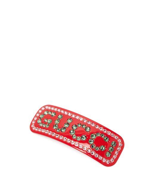 Gucci クリスタルロゴ レジンヘアピン Multicolor