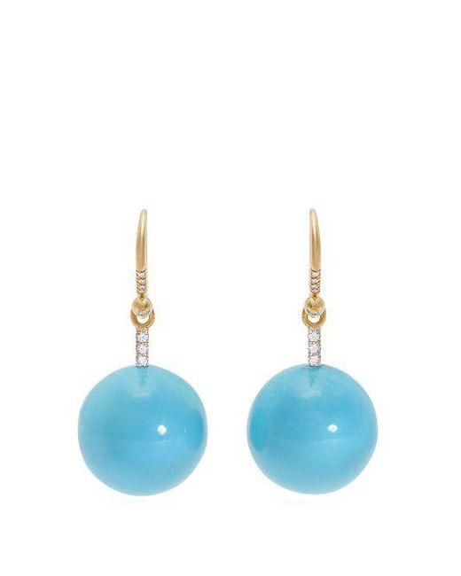 Irene Neuwirth - Blue Gold, Diamond & Kingman Turquoise Earrings - Lyst