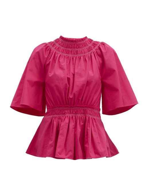 Roksanda リマ シャーリング コットンポプリントップ Pink