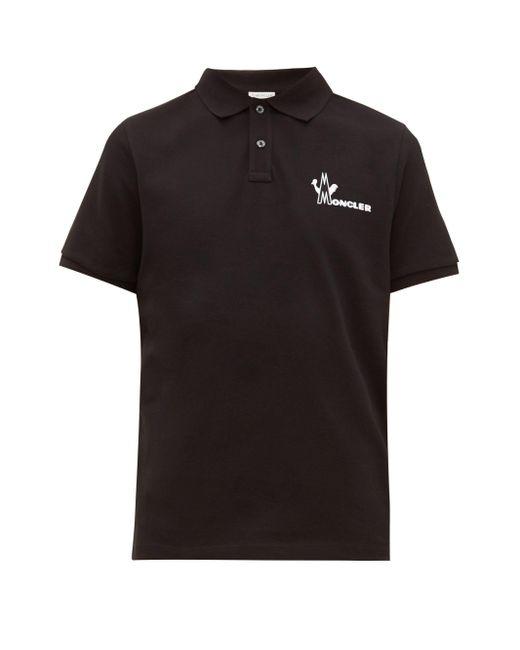 メンズ Moncler ロゴプリント コットンピケ ポロシャツ Black