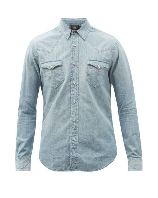 メンズ RRL バッファロー フラップポケット デニムシャツ Blue