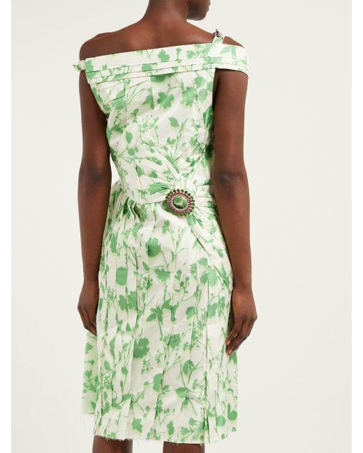 Calvin Klein フローラルプリント タフタドレス Green
