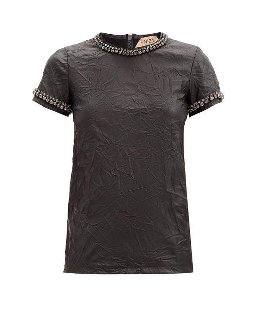 N°21 クリスタル フェイクレザーtシャツ Black